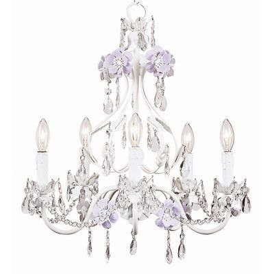 Jubilee Collection Flower Garden 5 Light Crystal Chandelier Finish: Lavender / White