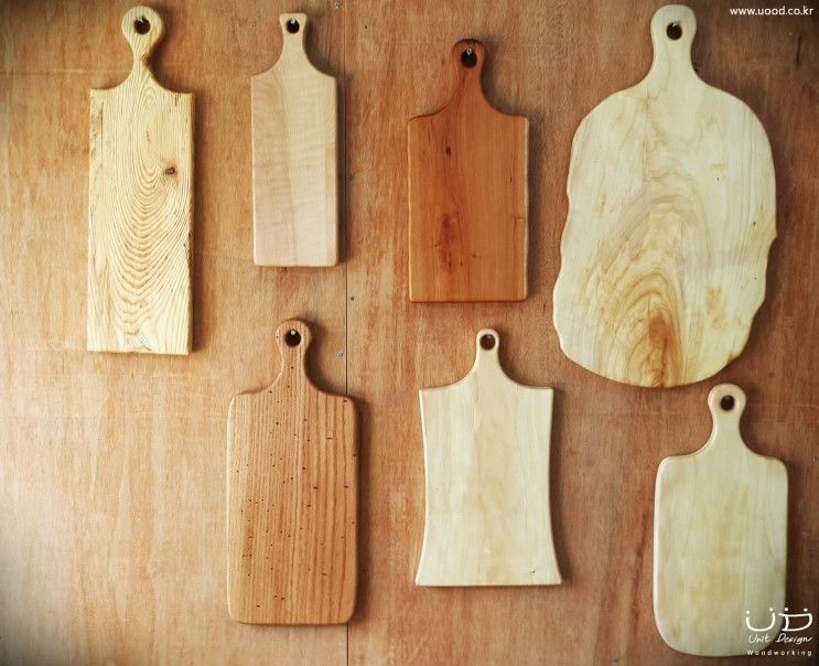 Bread boards made ​​of five kinds of wood  5가지 수종으로 만든 빵도마