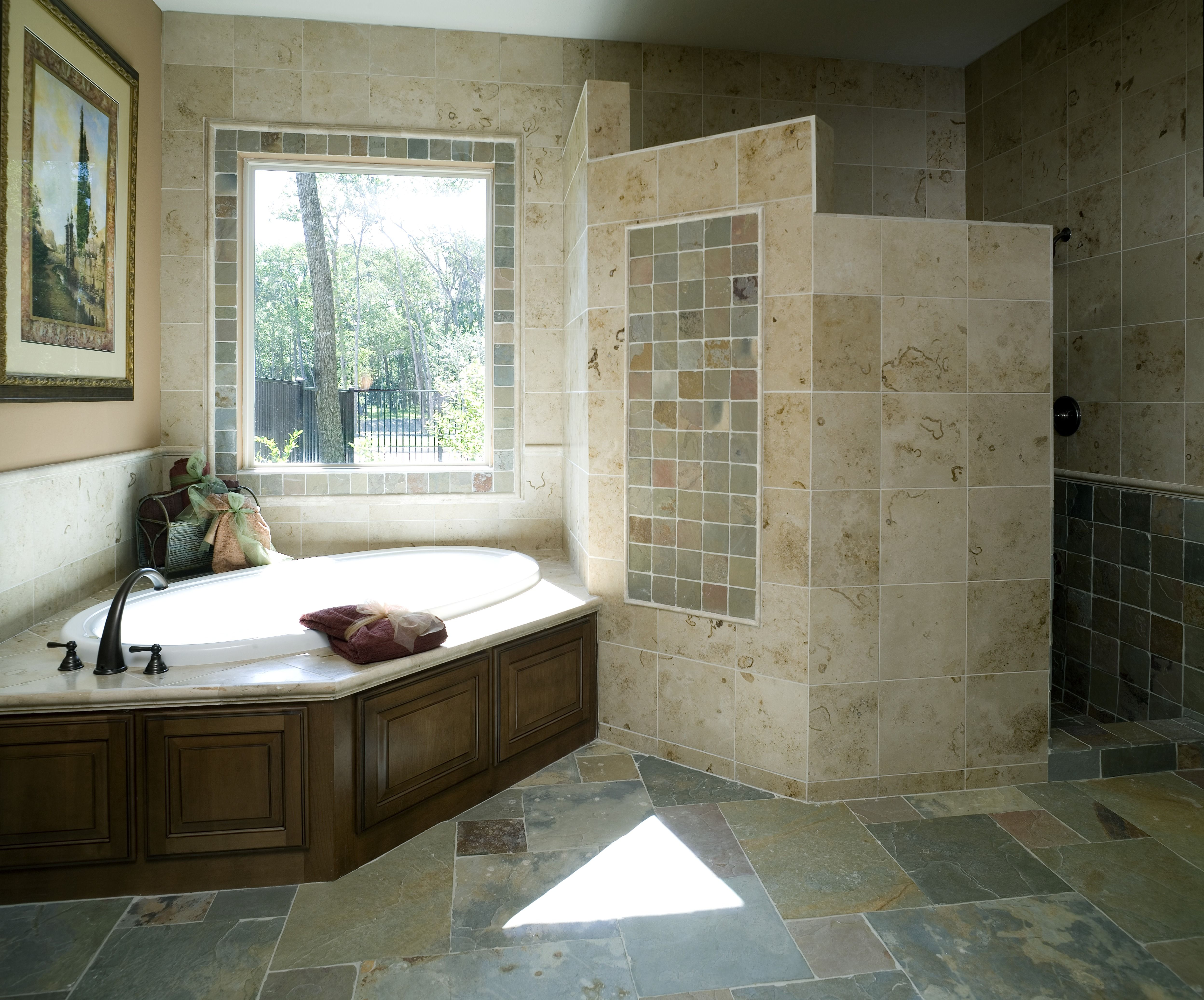 Corner Tubs With A Stoned Shower To Give Any Couple The Privacy They Desire Stone Matches Rest Of Bathroom Theme Stoneshower Cornertub