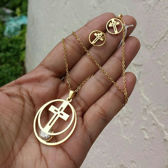 Stainless steel necklace set Gold stainless steel necklace 18 inches long new with box earrings are 12mm pendant is 30mm length is about 1 1/2 inches long Jewelry Necklaces