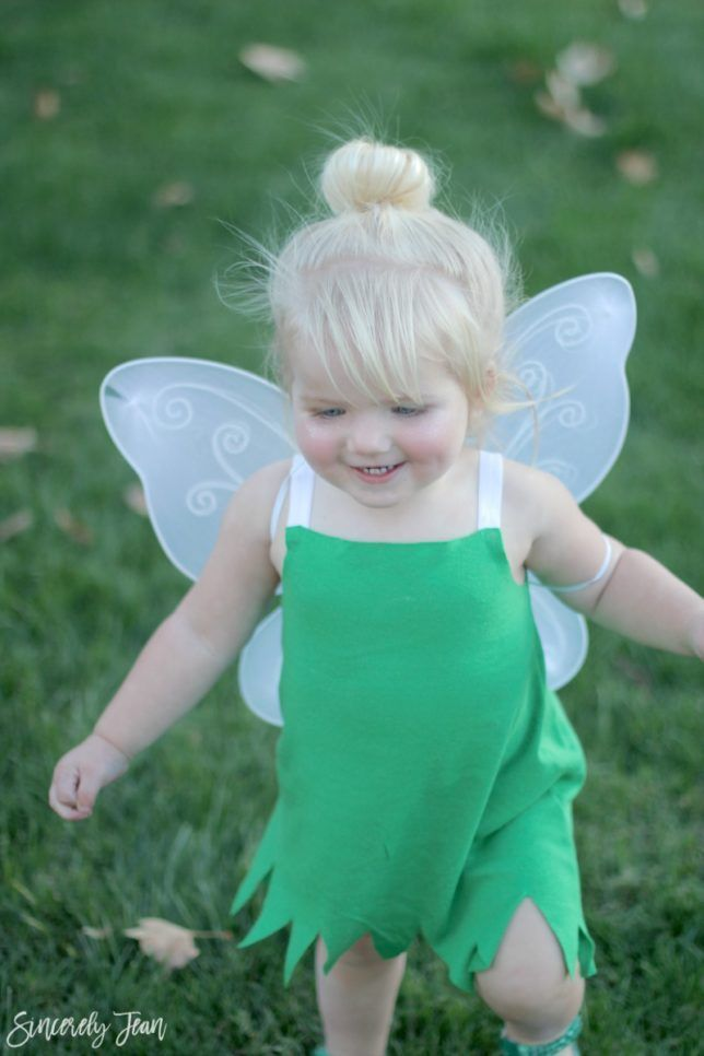 DIY Toddler Tinker Bell Costume and Hair #toddlerhalloween