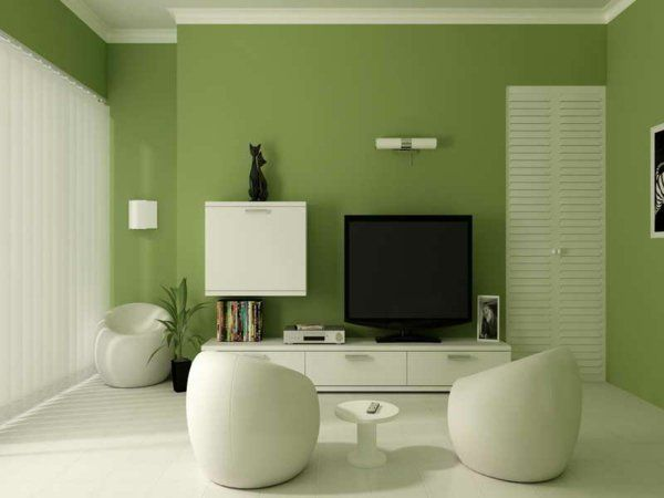 Wandfarbe Bequem Grün Farbideen Wandgestaltung Sessel   Traumhafte ... Wohnzimmer Farblich Gestalten Grun