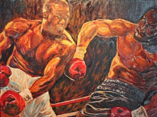 Tyson vs, Douglas, boxing, , Oil on canvas, 30 x 40 inches, Mike Halem