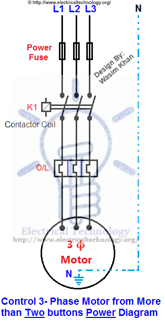 Control 3-Phase Motor from more than Two buttons Power Diagram ...