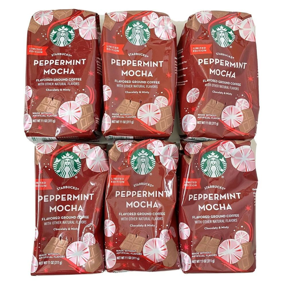 Lot of 6 Starbucks Holiday Peppermint Mocha Flavored