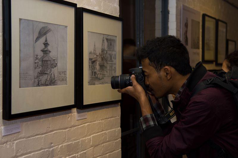 Kathmandu nov 22 pencil sketches of raj man singh chitrakar were showcased at taragaon