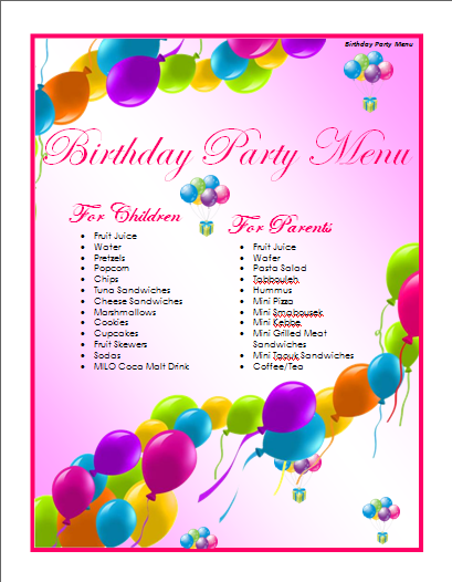 birthday menu templatepng 409526