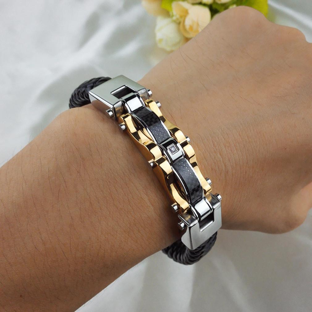 Fashion fine jewelry men leather titanium steel vintage bracelet