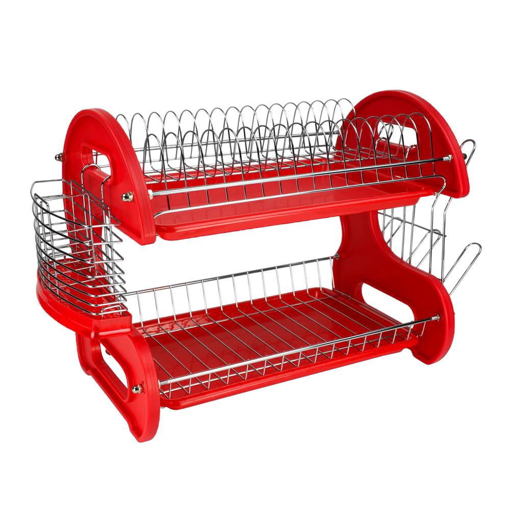 Home Basics 2 Tier Plastic Red Dish Drainer In 2020 Dish