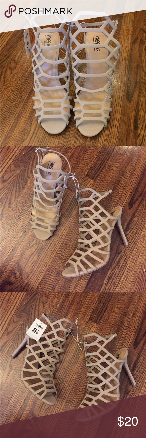 "NWT Caged Heel Strappy Gladiator Sandals Brand new with tags. Taupe. Heel height is 4"". Shoes Sandals"