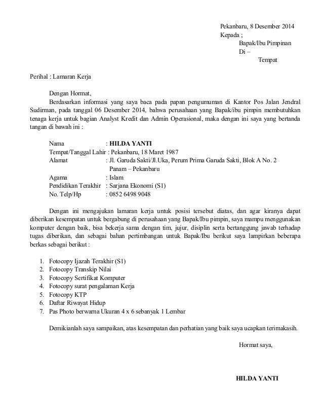 Surat Lamaran Kerja Kantor Pos Contoh Lamaran Kerja Dan Cv Pos