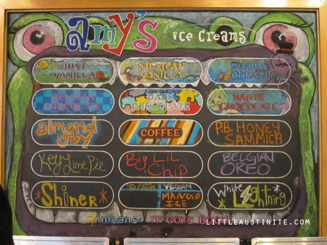 Amy's Ice Cream Flavor Board, Arboretum location | Austin, my ...