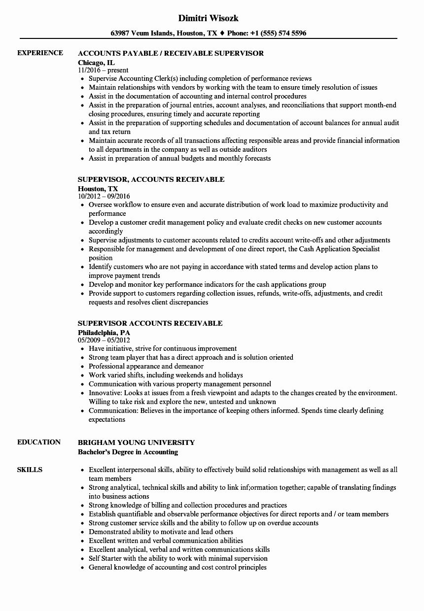 Accounts Receivable Resume Examples Elegant Supervisor