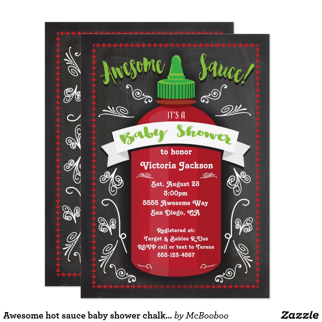 Awesome Hot Sauce Baby Shower Chalkboard Invites  Baby Shower