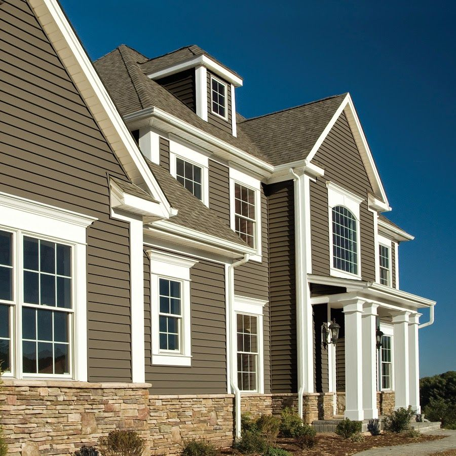 Exterior Siding Design: Mixed Stone And Vinyl Siding Exterior.