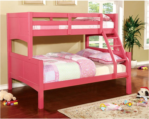 Furniture Of America Prismo Ii Collection Pink Twin Over