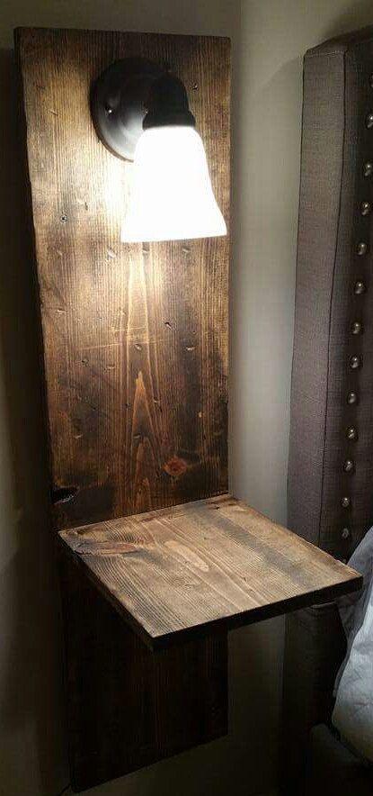 Rustic Sconce Lighted Floating Bedside Table Set