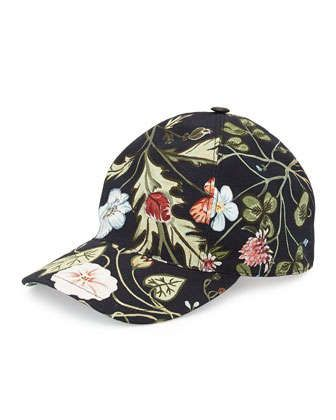 Flora-Print+Baseball+Hat,+Black+by+Gucci+at+Neiman+Marcus $365