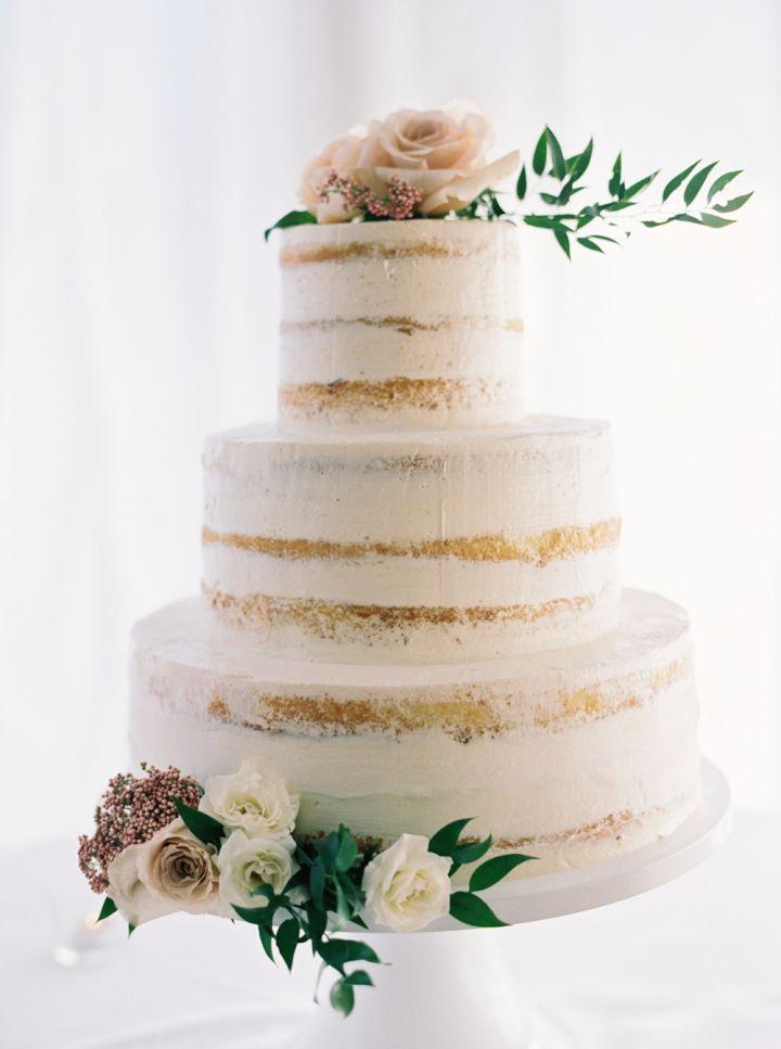 Semi naked wedding cake topped with roeses | fabmood.com #weddingcake #cakes #nakedcake