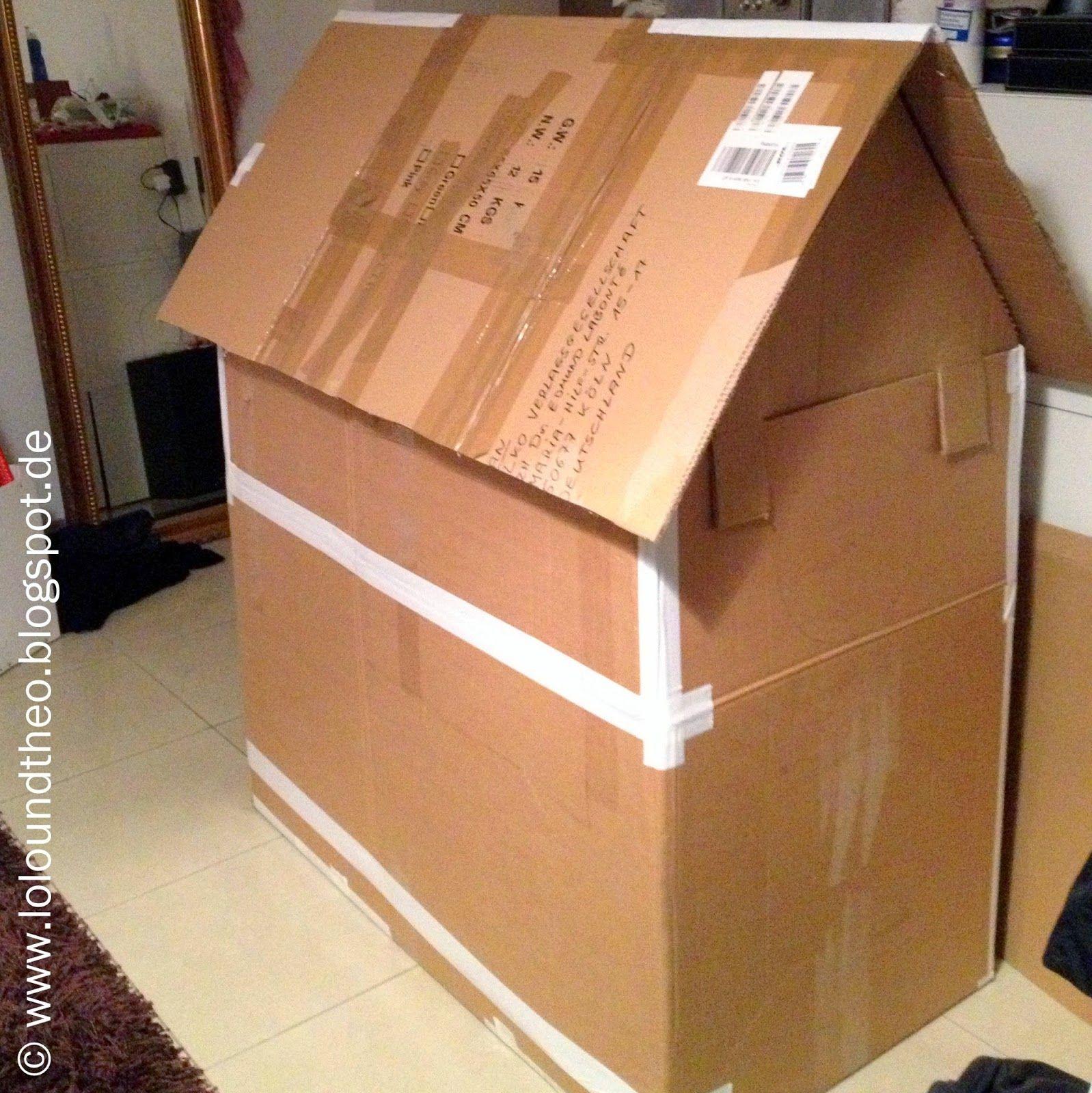 diy spielhaus aus kartons kartonhaus zum spielen playhouse cardboard. Black Bedroom Furniture Sets. Home Design Ideas