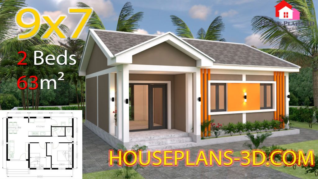 House Plans 6x6 With One Bedrooms Flat Roof House Plans 3d House Plans Gable Roof House House Roof