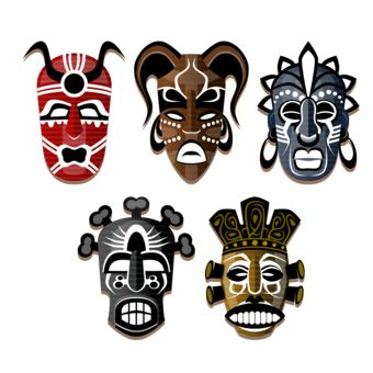 5 african tribal masks design by tshirtjam geography t shirts