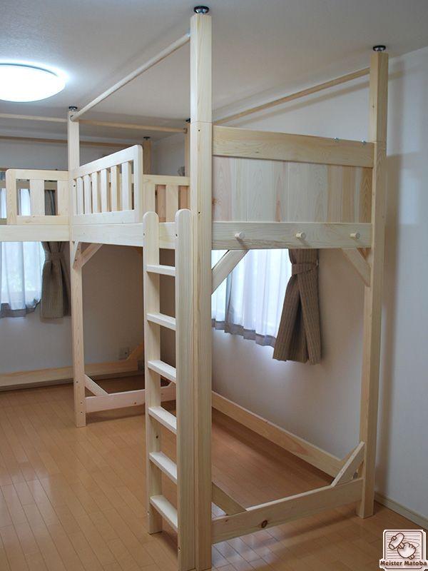 ひのきロフトベッド3台を 一部屋に 1402081 Decoration ロフトベッド 子供部屋、ロフト