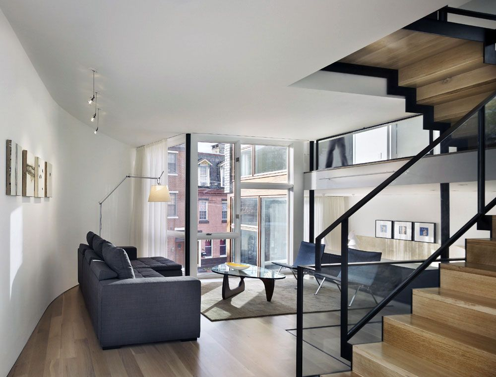 Living Space, Split Level House In Philadelphia By Qb Design