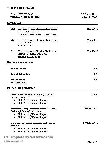Curriculum Vitae Template Google Search Curriculum Vitae Template Job Resume Template Curriculum Vitae Examples