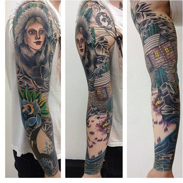 Mixed Styles Full Sleeve Tattoos Watercolor Tattoo Mix Style