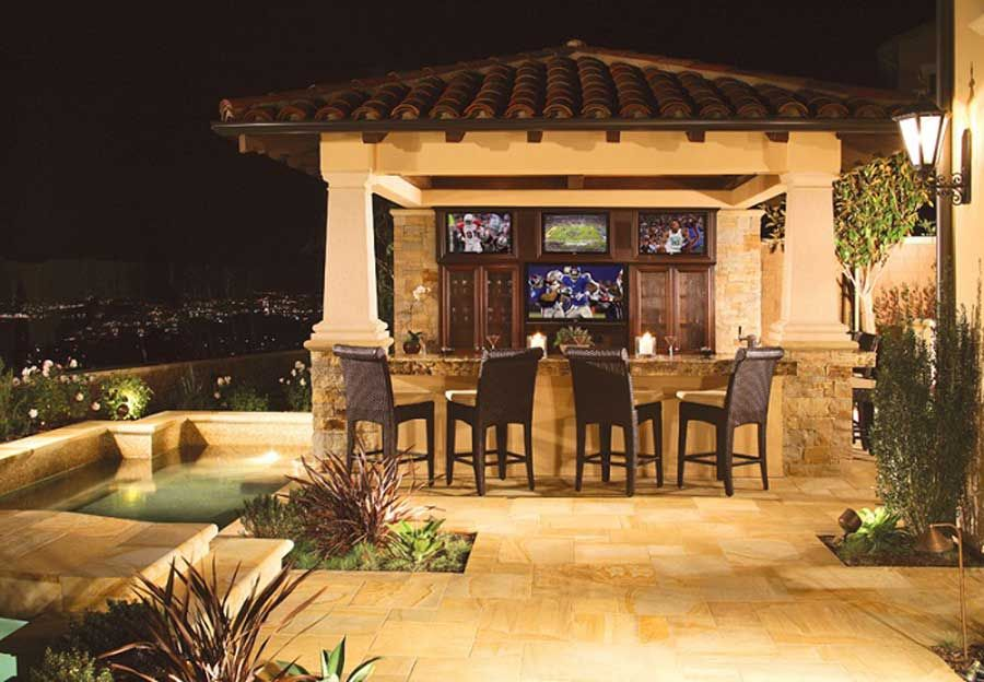 Awesome Home Exterior Ideas: Custom Patio Covers Outdoor Kitchen Waterfall .