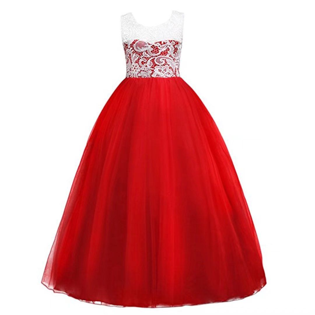 Zah Big Gril Lace Flower Wedding Girl Party Fall Dresses Red 12 13y Material Cotton Polyes Girls Tulle Dress Maxi Bridesmaid Dresses Tulle Bridesmaid Dress [ 1080 x 1080 Pixel ]