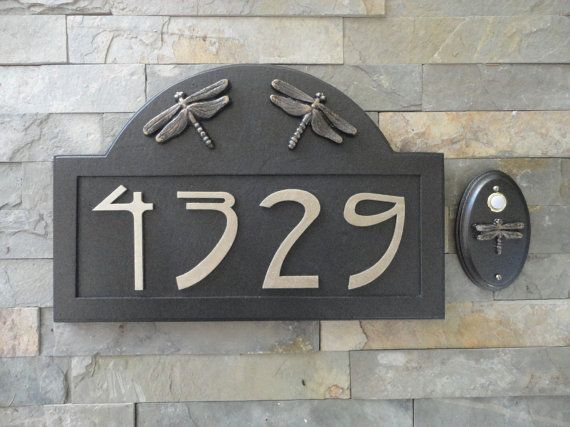Craftsman House Numbers Wired Doorbell Set Bungalow Dragonfly Arts And Crafts Crave Company Wh Craftsman House Numbers Craftsman House House Numbers