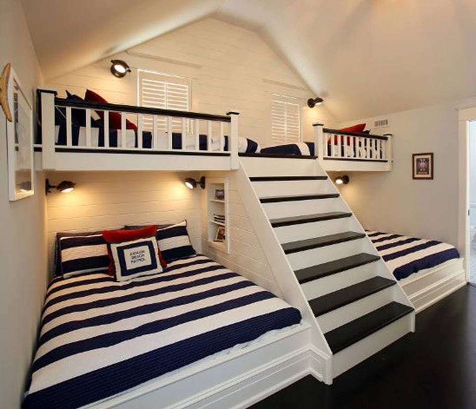 Awesome idea for vacation house guest or kids room double beds
