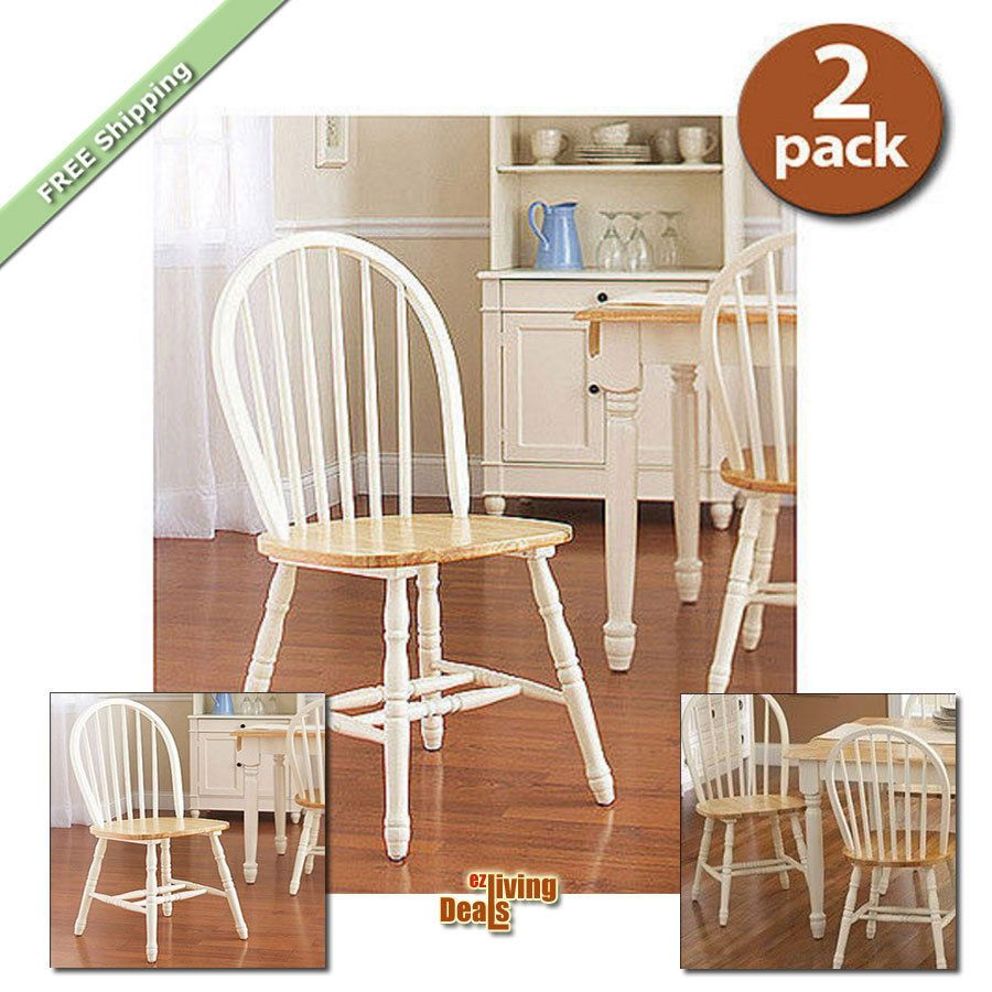 Farmhouse dining room chairs set of 2 kitchen wood windsor
