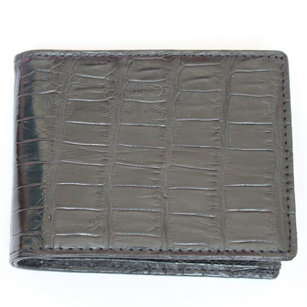 Men/'s Crocodile Pattern RFID BLOCKING Black Brown GENUINE LEATHER Bifold WALLET