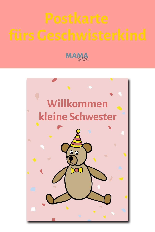 Geburtskarte Willkommen Kleine Schwester Baby