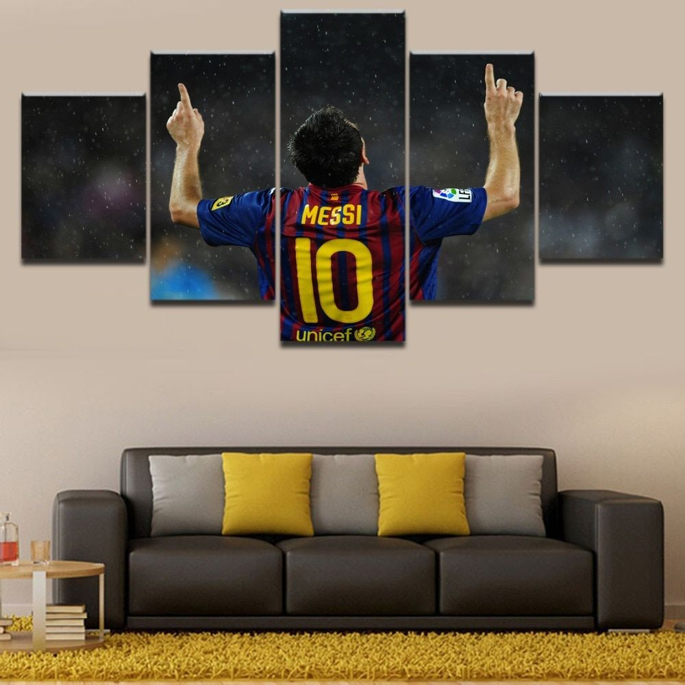 5 Panel Sports Lionel Messi Art Poster Home Decor Print On Canvas Canvas Prints Poster Art 5 Panel Wall Art