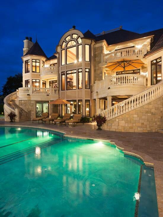 Mansion with pool at night  Pin by Soccer lover on Dream Home | Pinterest | House, Nice and ...