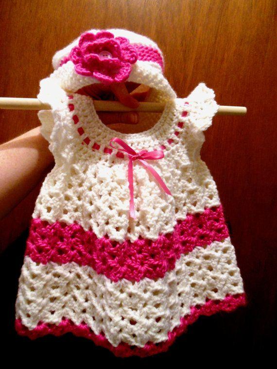 White & Pink Crochet Baby Dress and Hat. | Crochet for kids ...