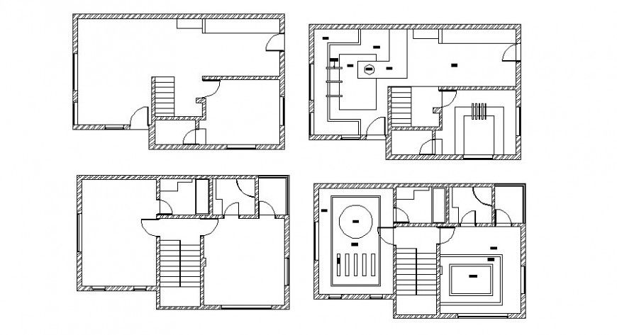 Electrical Layout And Sanitary Installation Details Of Cottage