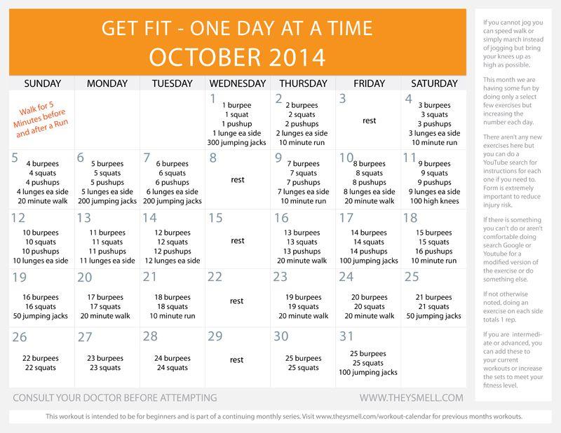 Daily Beginner Workout Plan for October Workout calendar - workout calendar