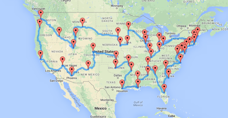 A Map Of The Optimal United States Road Trip That Hits Landmarks - Us map with roads