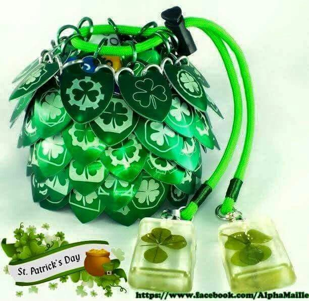 #stpatricksday #scalemaille #dicebag #chainmaille