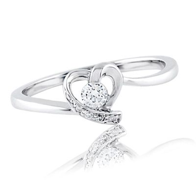 110 CT TW Diamond HeartShaped Promise Ring in 10K White Gold