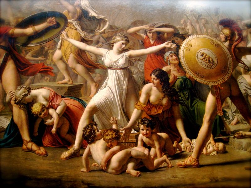 """The Intervention of the Sabine women"" by Jacques-Louis David (1799, oil on canvas, 385 x 522 cm.)"