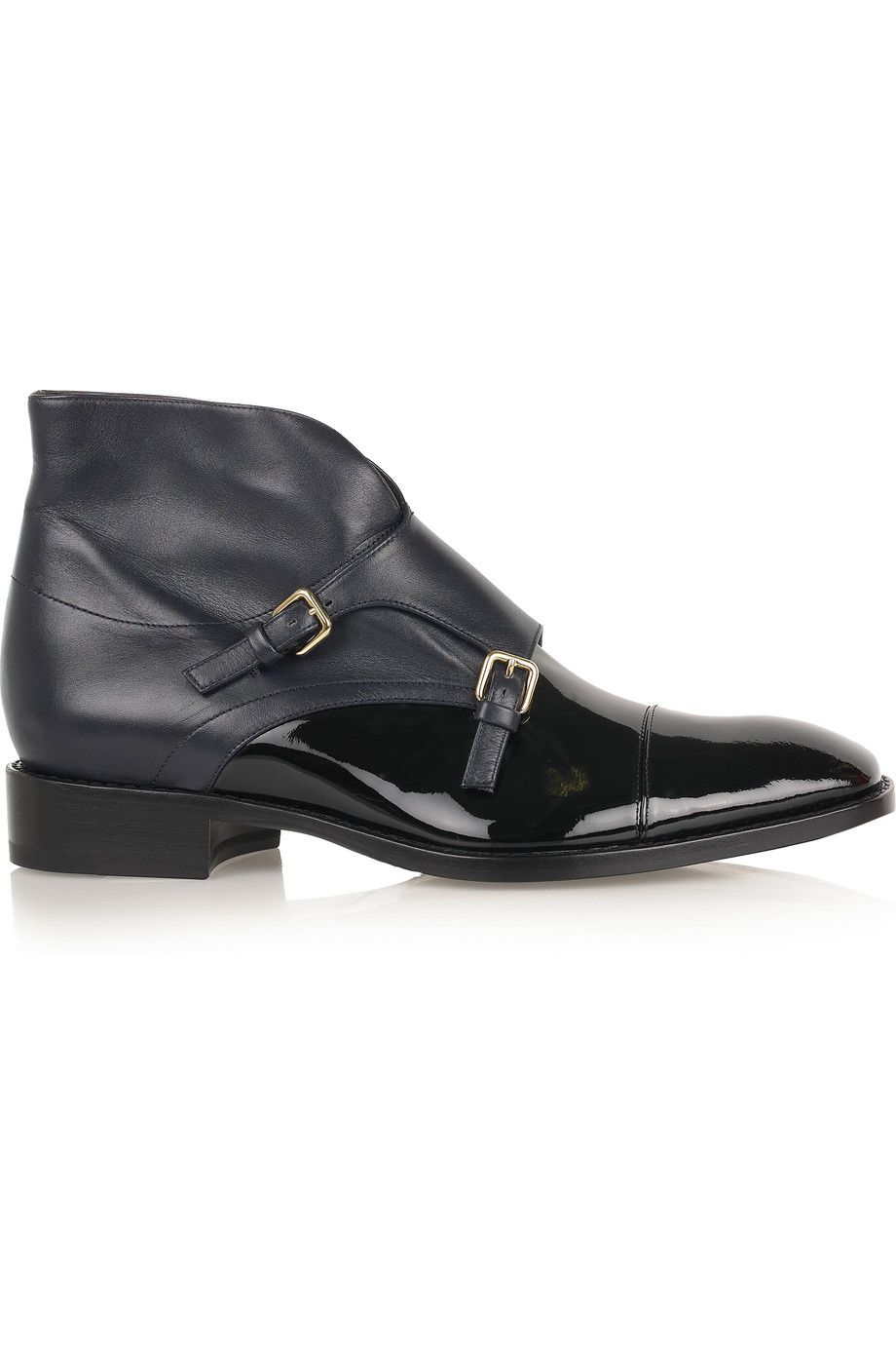 Midnight blue Leather monk strap ankle boots | Jil Sander