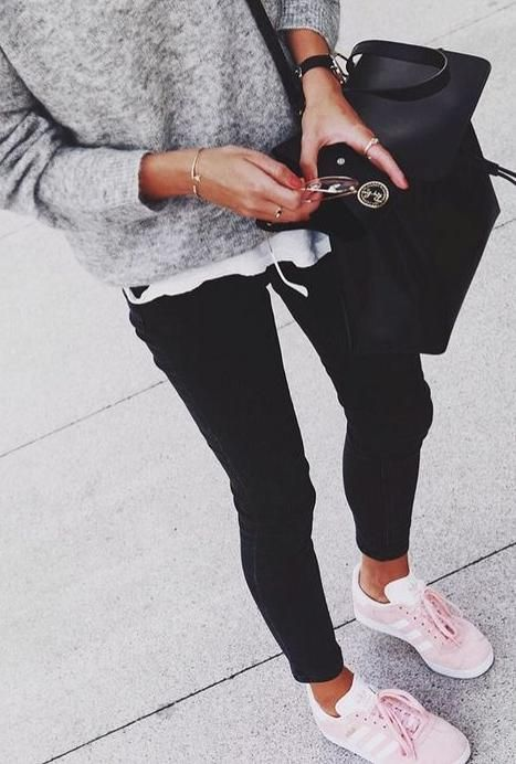 black. white. grey. everyday style. pink adidas trainers. #adidasclothes