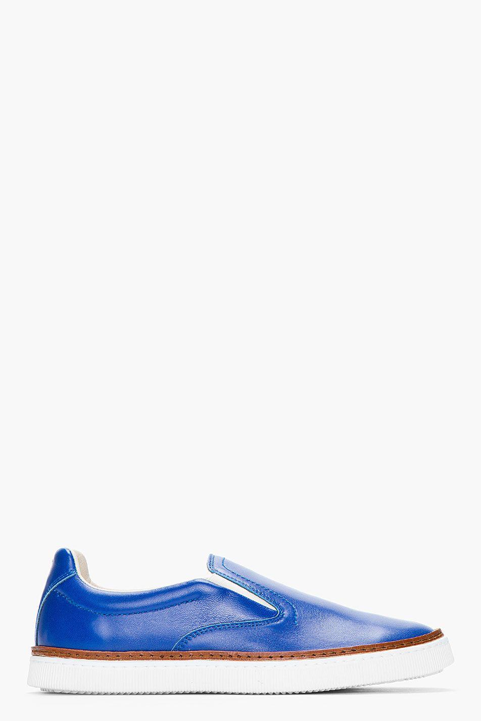 379ae089b8a MAISON MARTIN MARGIELA    Royal blue buffed leather slip-on shoes  32168M049001 Low top buffed leather slip-on shoes in royal blue. Round toe.