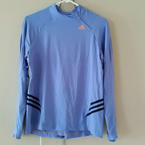 Adidas Clima365 pullover with shoulder zip This pullover is lightweight and is a periwinkle color.  It's only been worn a few times, but the outer seam on one side is loose (this has nothing to do with the integrity of the shirt--no hole). Very cute! Adidas Tops Tees - Long Sleeve